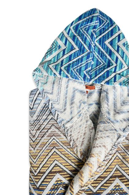 MISSONI HOME TOLOMEO HOODED BATHROBE Blue E - Front