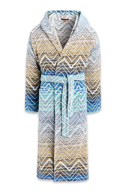 MISSONI HOME TOLOMEO HOODED BATHROBE Blue E - Back
