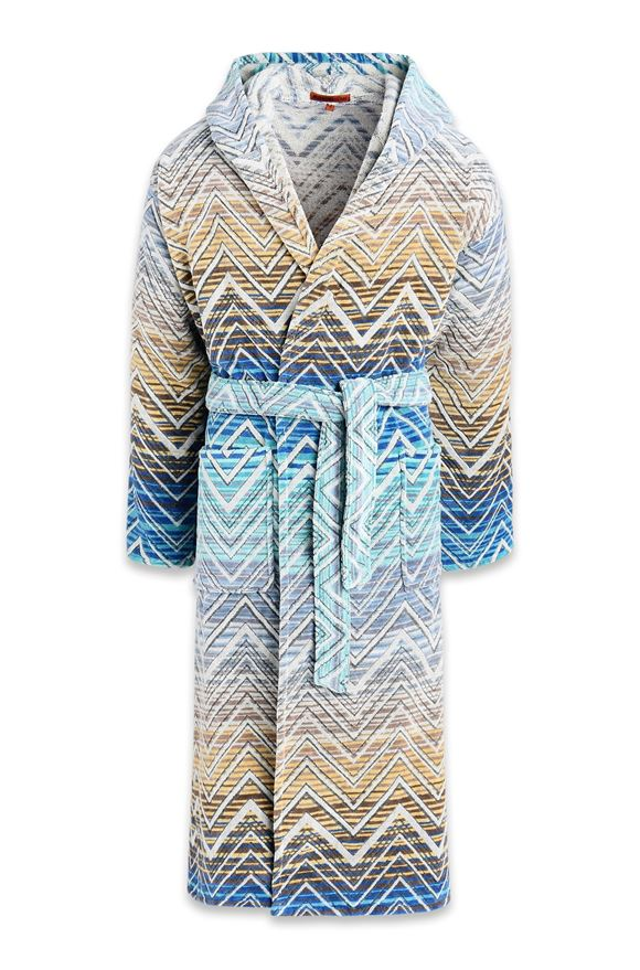MISSONI HOME TOLOMEO HOODED BATHROBE Blue E