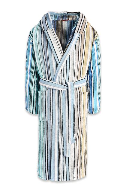 MISSONI HOME TABATA HOODED BATHROBE Blue E - Back