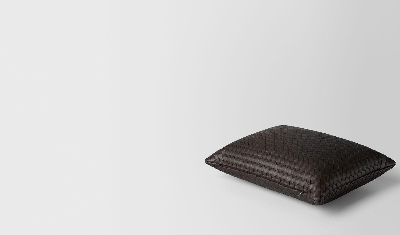 espresso intrecciato nappa leather rectangular pillow landing
