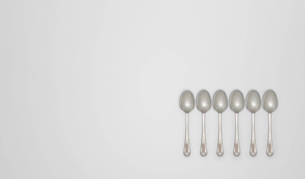 vintage stainless-steel tea/coffee spoon six-piece set landing