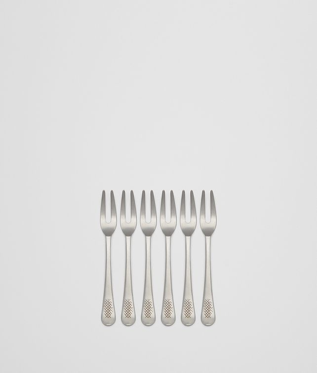 BOTTEGA VENETA VINTAGE STAINLESS-STEEL ESCARGOT FORK SIX-PIECE SET CUTLERY E fp