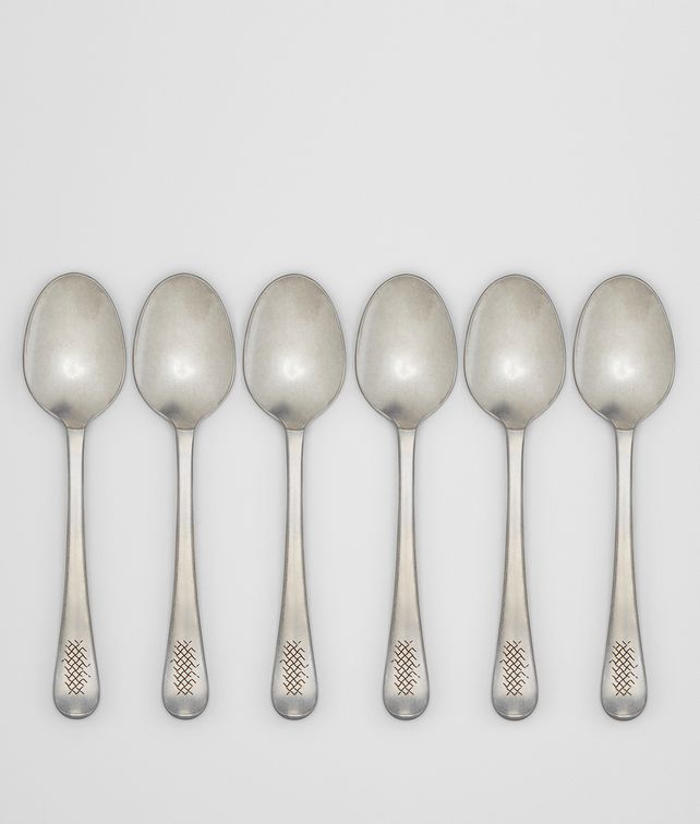 BOTTEGA VENETA VINTAGE STAINLESS-STEEL DINNER SPOON SIX-PIECE SET CUTLERY E fp