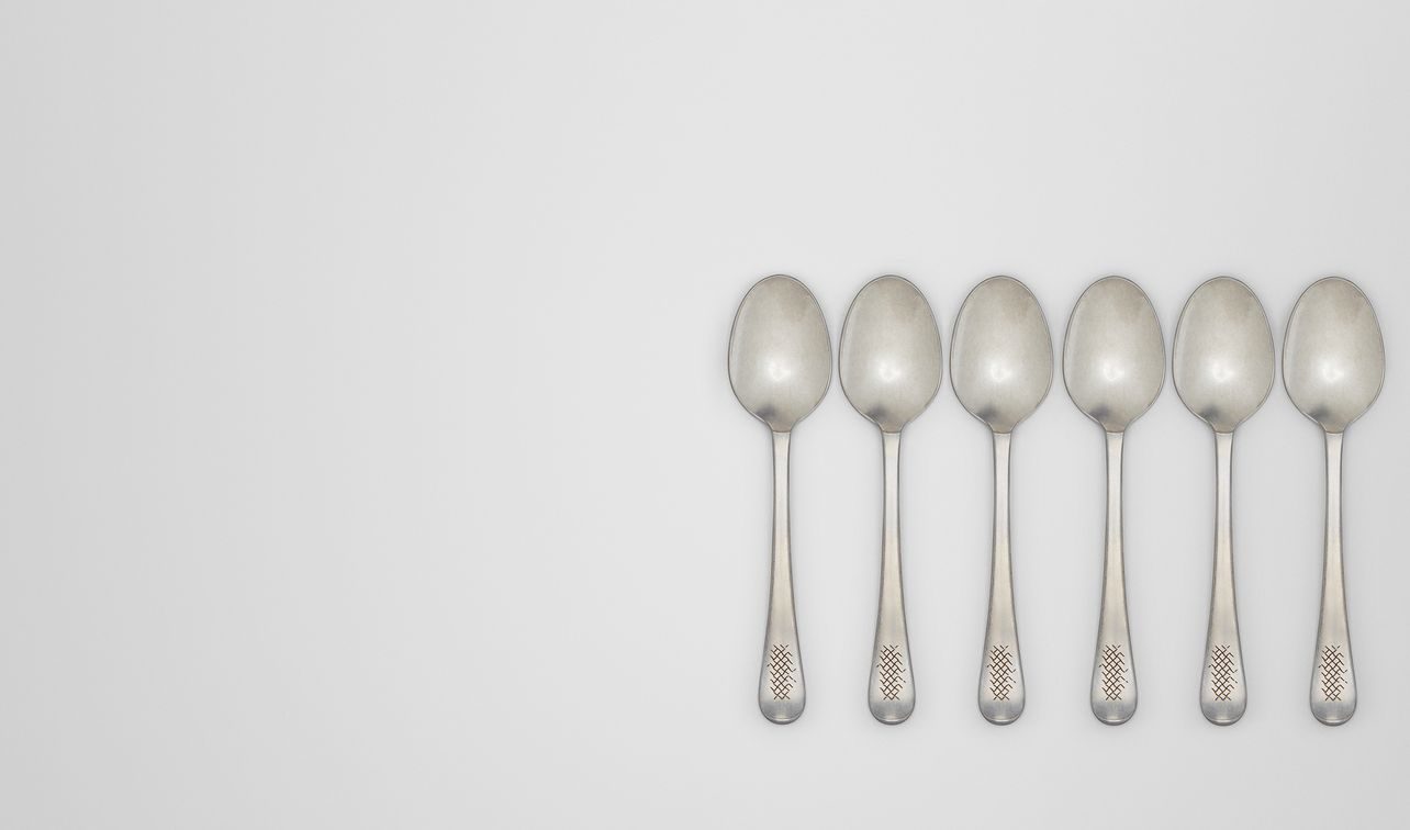 vintage stainless-steel dinner spoon six-piece set landing