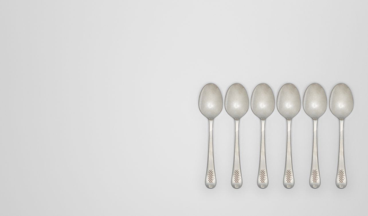 vintage stainless-steel dessert spoon six-piece set landing