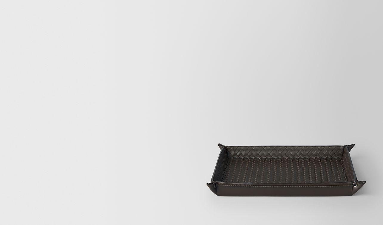 espresso intrecciato nappa leather letter tray landing