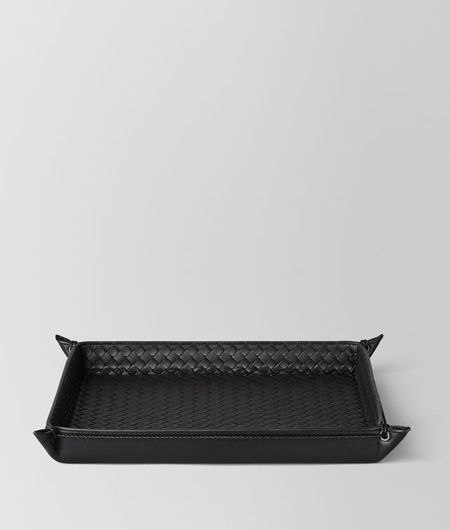 BOTTEGA VENETA NERO INTRECCIATO NAPPA LEATHER LETTER TRAY Desk accessory E fp