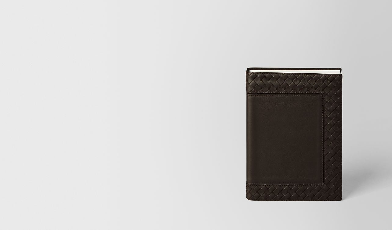 espresso intrecciato nappa leather notebook landing