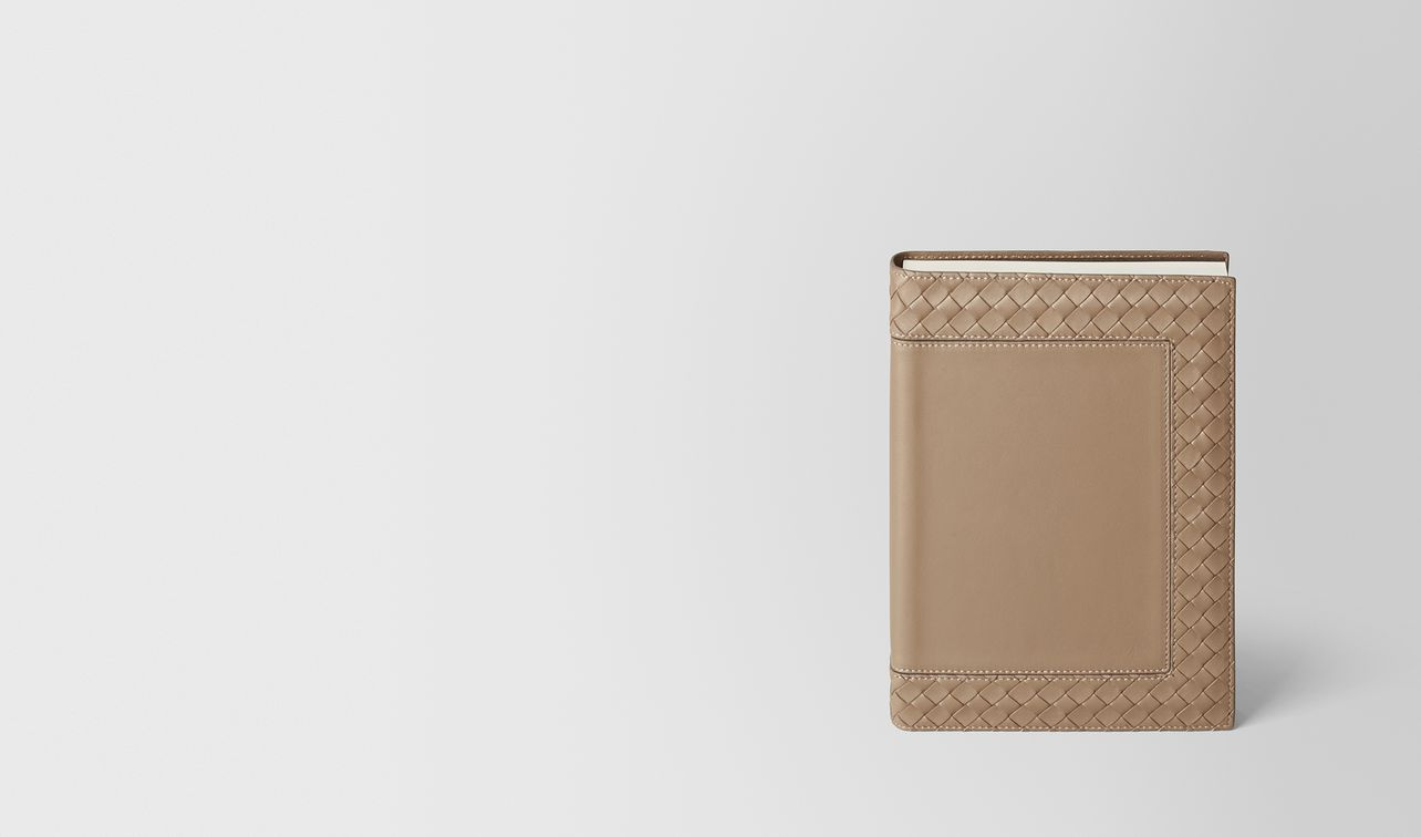 ash intrecciato nappa leather notebook landing