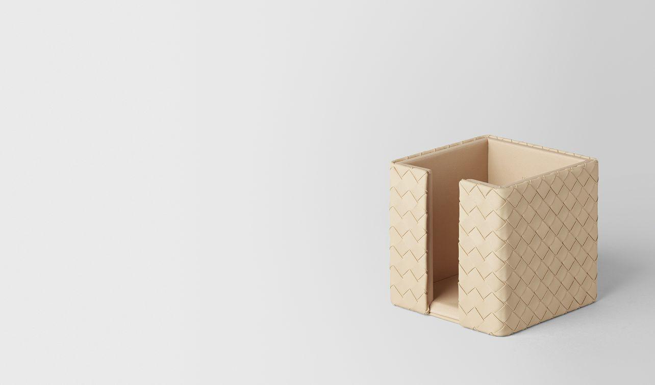porta block-notes in intrecciato nappa pergamena landing