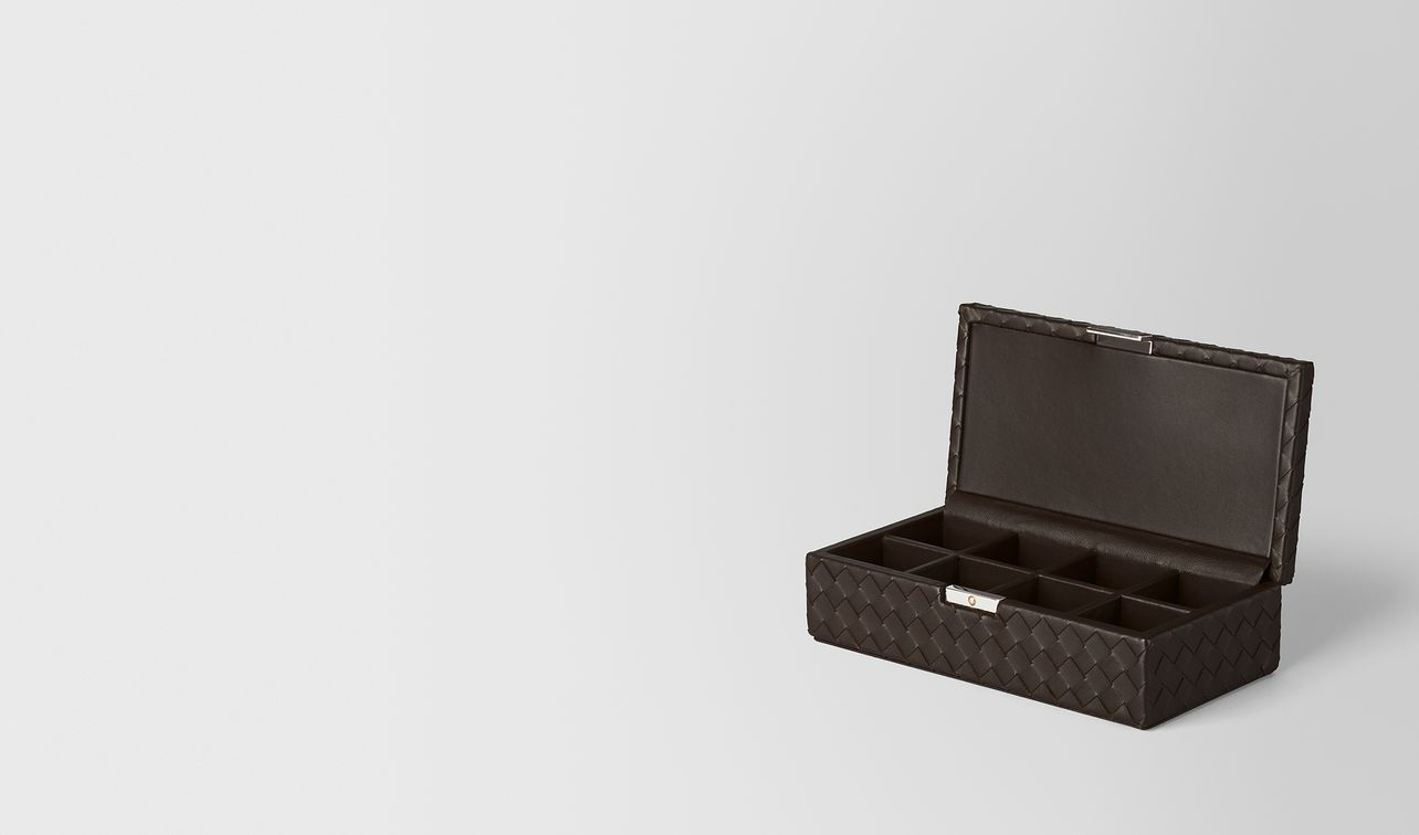 espresso intrecciato nappa leather cufflinks box landing