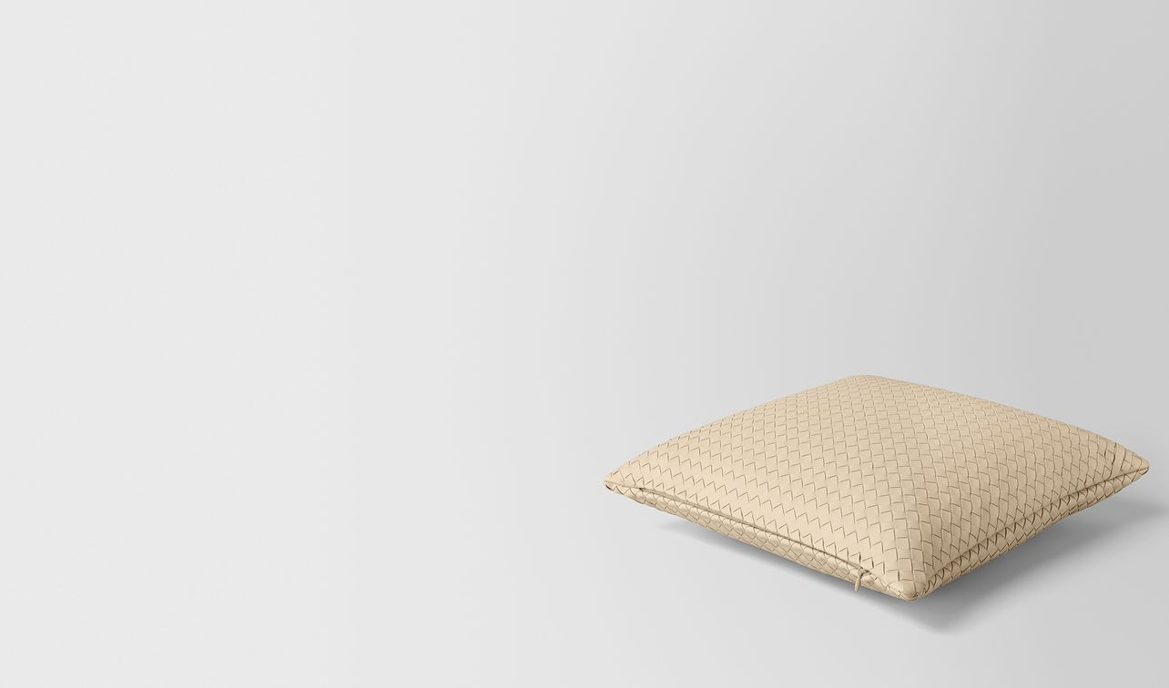 pergamena intrecciato nappa leather square pillow landing