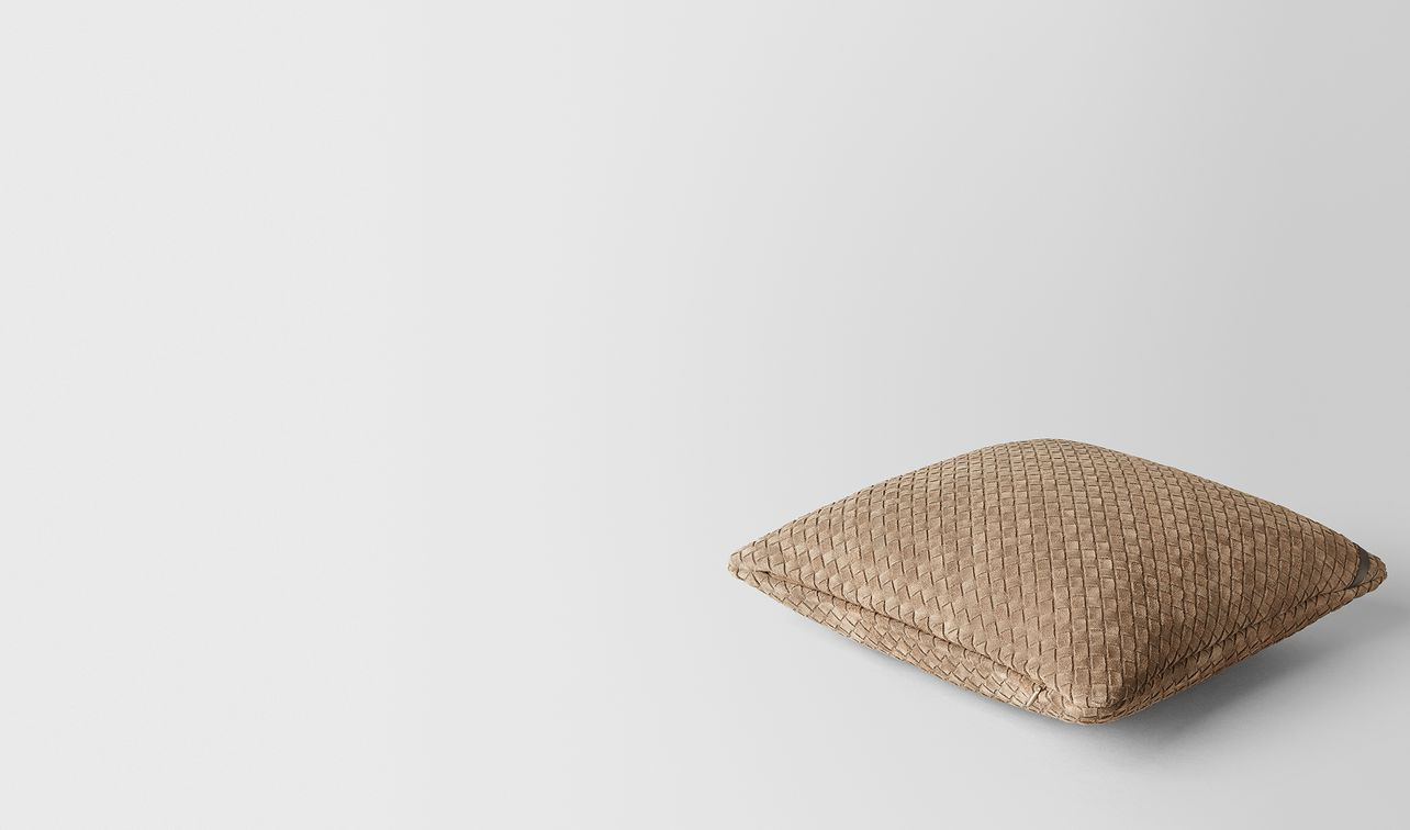 cigar intrecciato suede square pillow landing