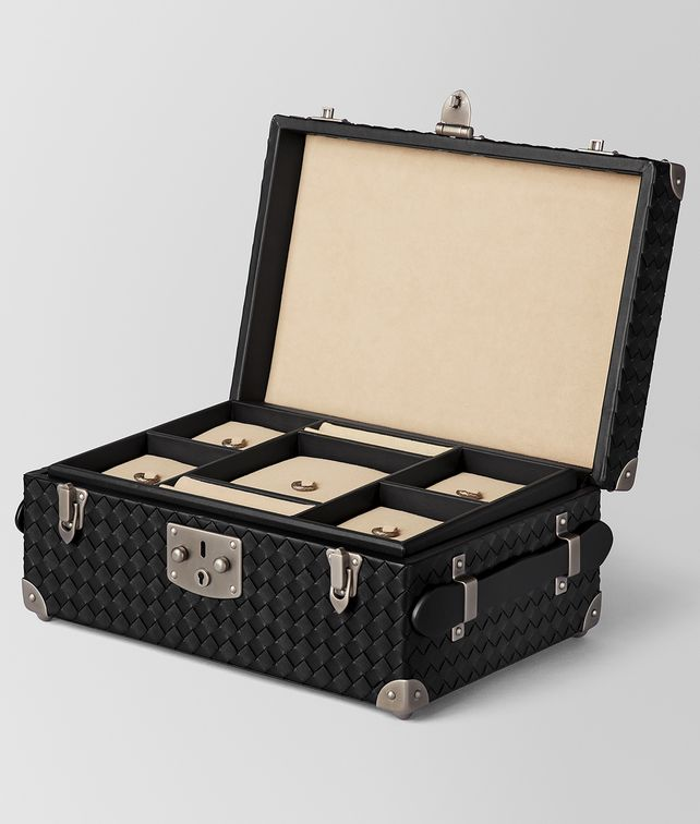 BOTTEGA VENETA NERO INTRECCIATO NAPPA LEATHER JEWELLERY TRAVEL CASE BOX E fp