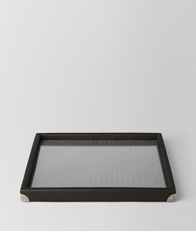 BOTTEGA VENETA ESPRESSO INTRECCIATO NAPPA LEATHER SQUARE TRAY TABLETOP E fp