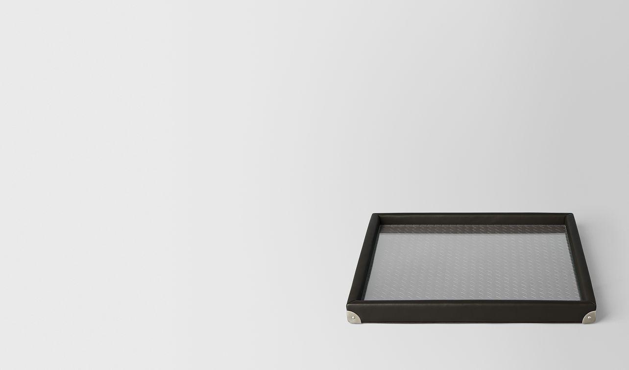 espresso intrecciato nappa leather square tray landing