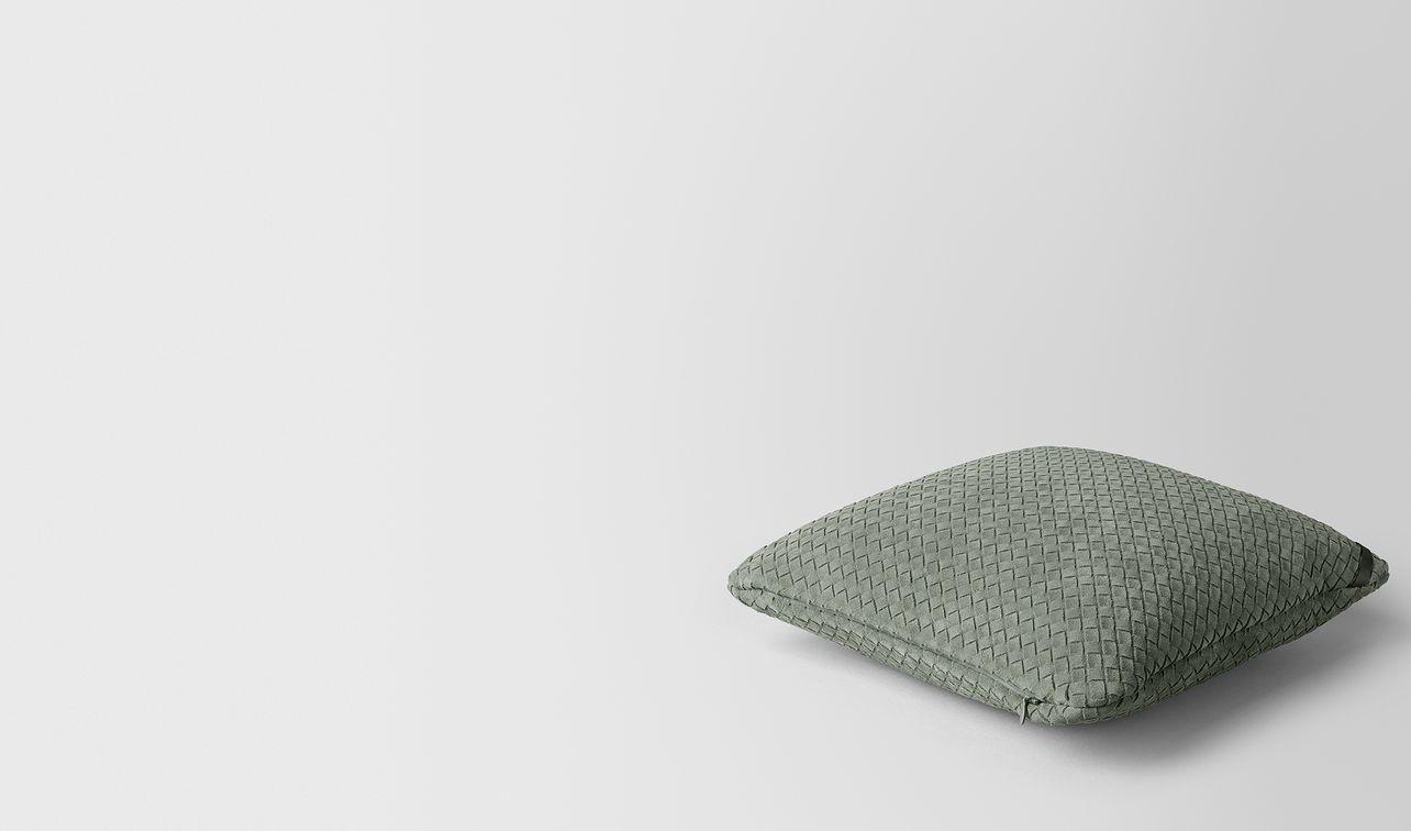 artichoke intrecciato suede square pillow landing