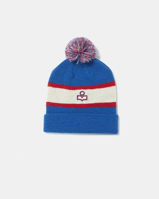 """Wool beanie with pompom Striped with small embroidered logo """