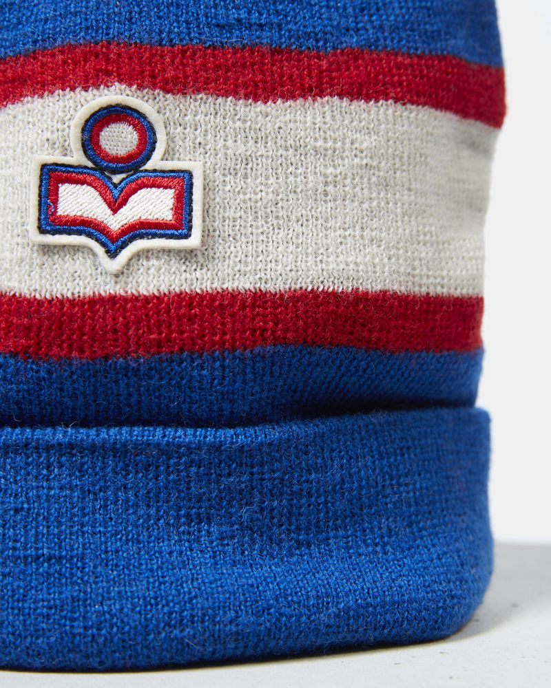 """Wool beanie with pompom Striped with small embroidered logo ""  ISABEL MARANT"