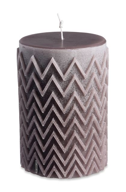 MISSONI HOME CHEVRON CYLINDRICAL CANDLE Khaki E - Front