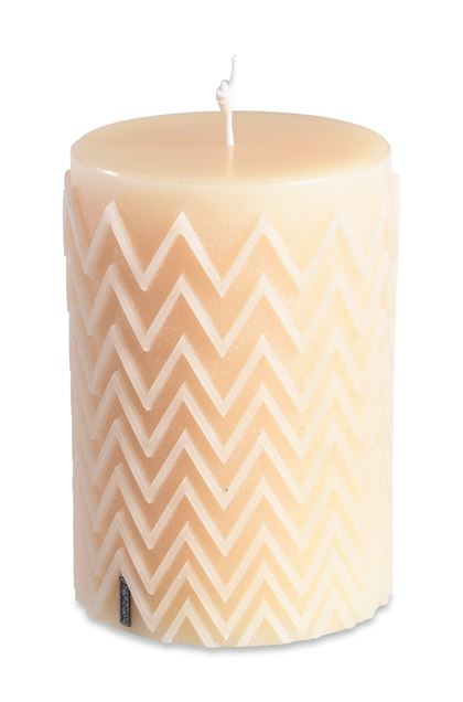 MISSONI HOME CHEVRON CYLINDRICAL CANDLE Ivory E - Front