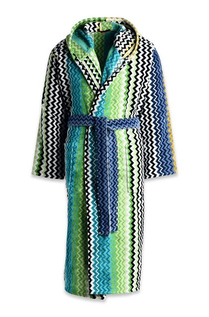 MISSONI HOME STAN HOODED BATHROBE Turquoise E - Back