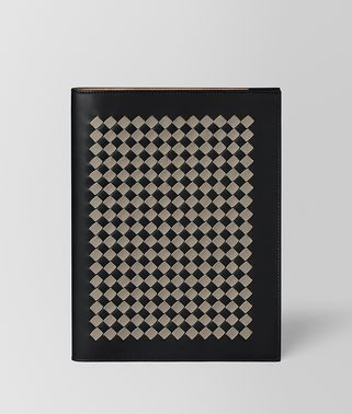 LARGE NOTEBOOK COVER IN INTRECCIATO CHEQUER