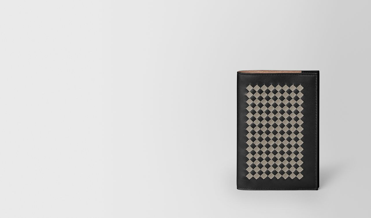 medium notebook cover in intrecciato chequer landing