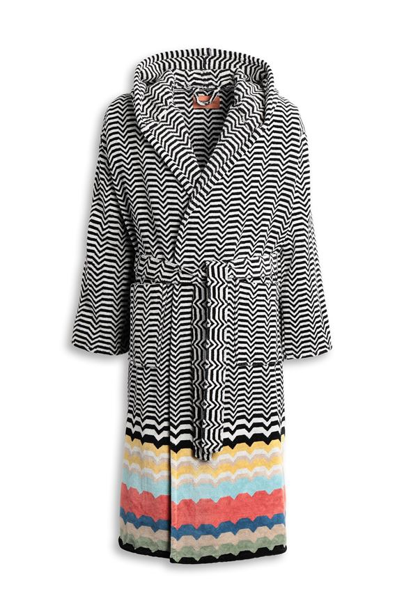 MISSONI HOME WOLF HOODED BATHROBE Black E