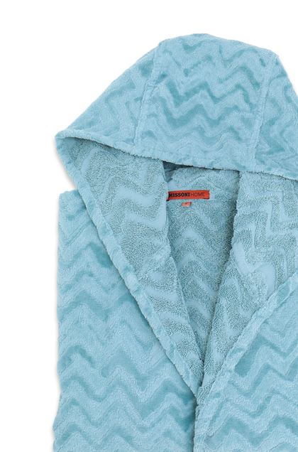 MISSONI HOME REX HOODED BATHROBE Sky blue E - Front
