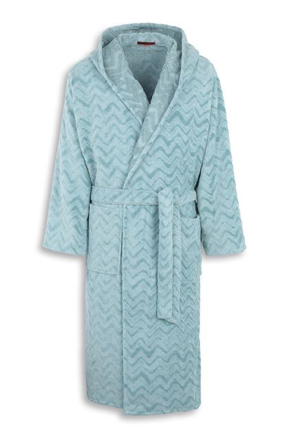 MISSONI HOME REX HOODED BATHROBE Sky blue E - Back