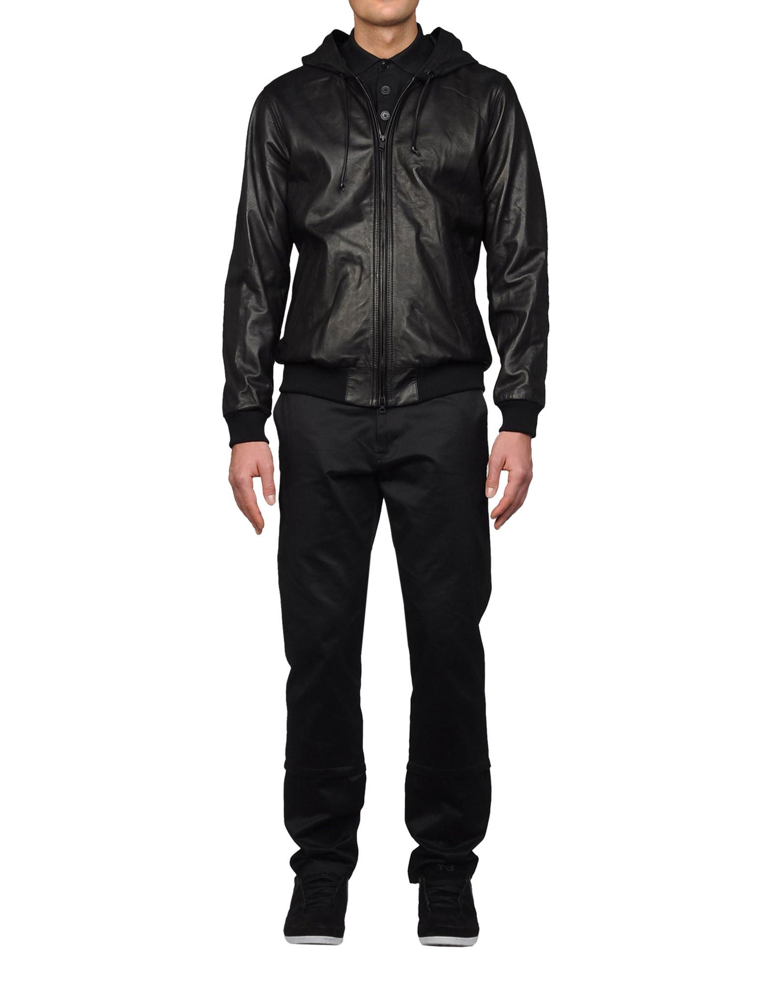 Leather jacket and hoodie -  Y 3 Leather Hoodie Coats Jackets Man Y 3 Adidas