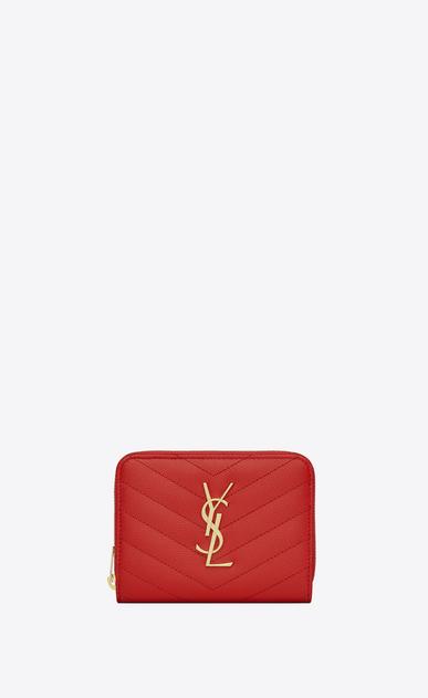 SAINT LAURENT Monogram Matelassé D monogram compact zip around wallet in red grain de poudre textured matelassé leather a_V4