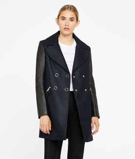 KARL LAGERFELD IKONIK PEACOAT WITH LEATHER