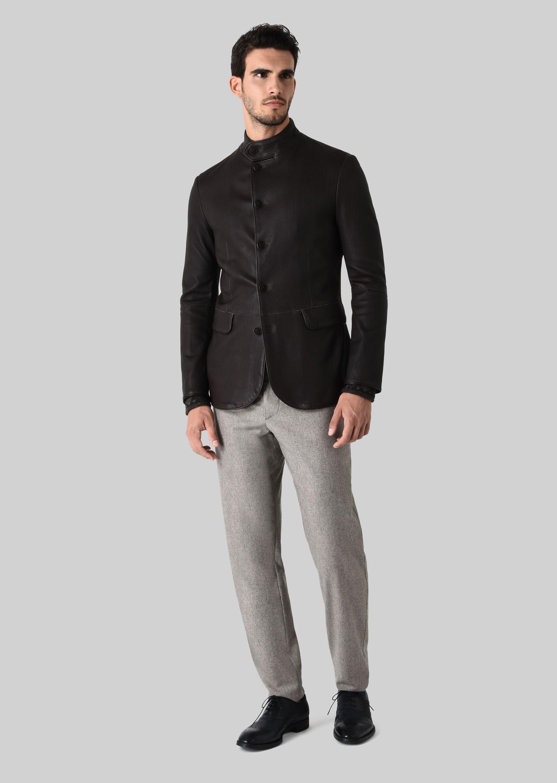 Veste cuir et tissu homme