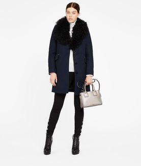 KARL LAGERFELD WOOL COAT W/ SHEARLING COLLAR