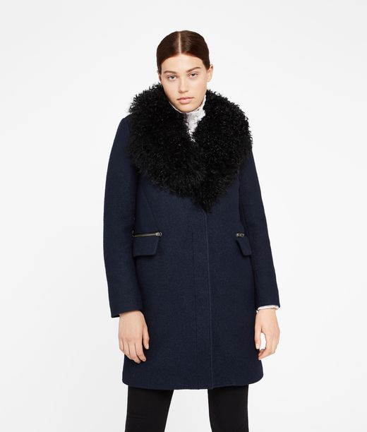 KARL LAGERFELD Wool Coat W/ Shearling Collar 12_f