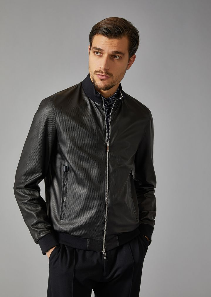 d7c879d077 Woven leather jacket
