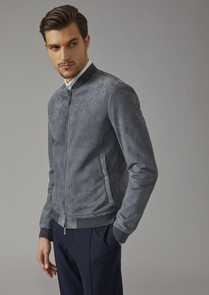 b7b6dcb238 Tumbled suede jacket   Man   Giorgio Armani