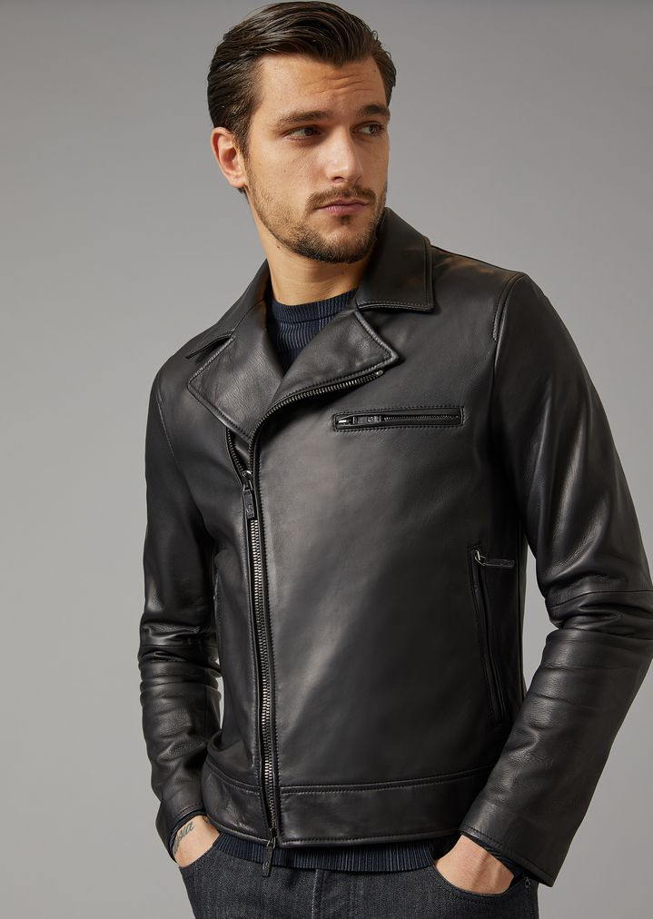 e01538226a Plongé Nappa Leather Jacket   Man   Giorgio Armani
