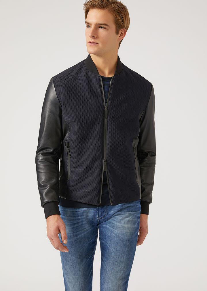 Jacke aus Leder und strukturiertem Funktionsgewebe   Herren   Emporio Armani 2fb310792a