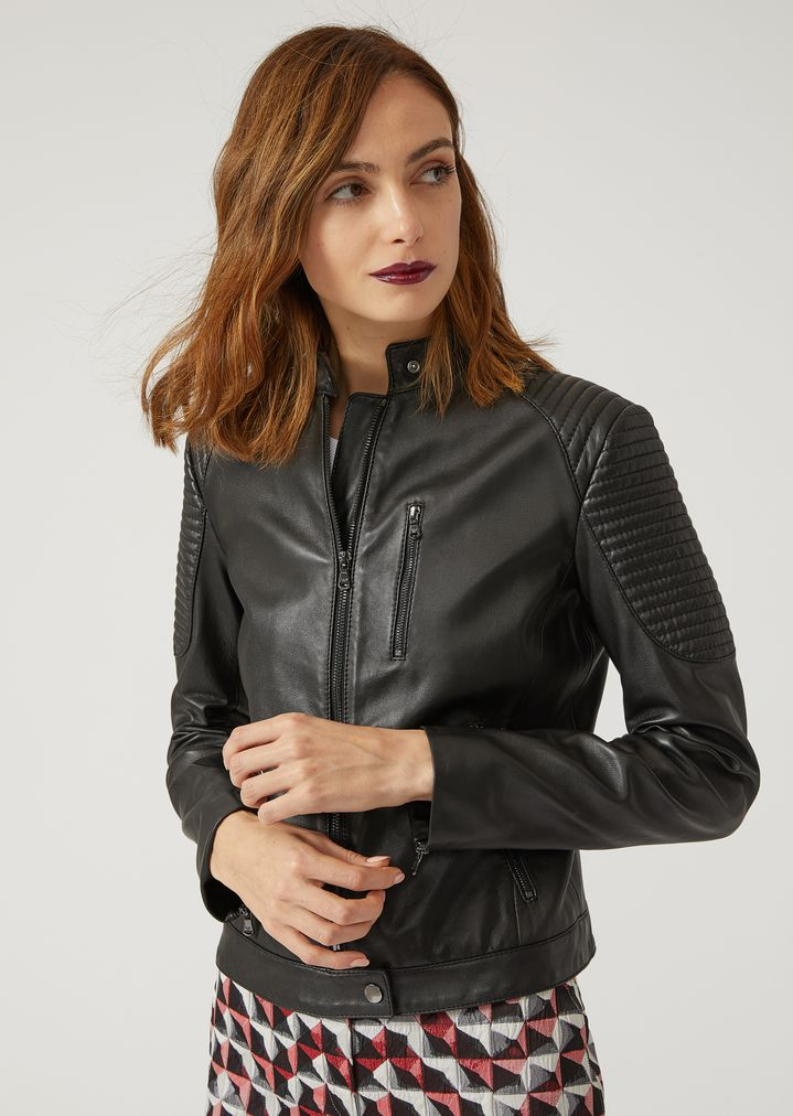 ec975c2723 BIKER JACKET IN NAPPA LEATHER WITH PADDING | Woman | Emporio Armani