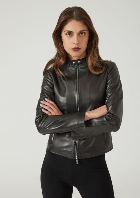 Veste de motard en cuir nappa supreme avec zip et boutons 397253c9a29