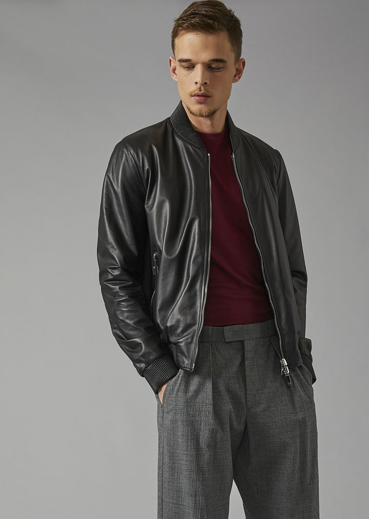 3e61984c9 Reversible bomber jacket in lambskin nappa and micro-perforated fabric