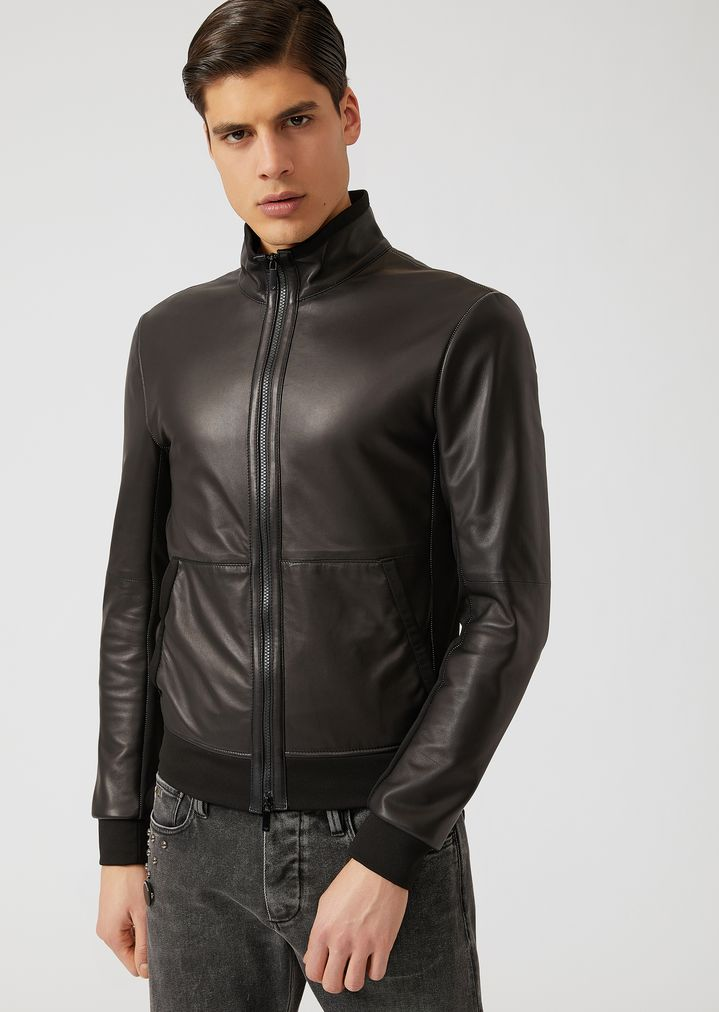 ceedbe42b9 Jacket in glove nappa with jersey hem and cuffs | Man | Emporio Armani