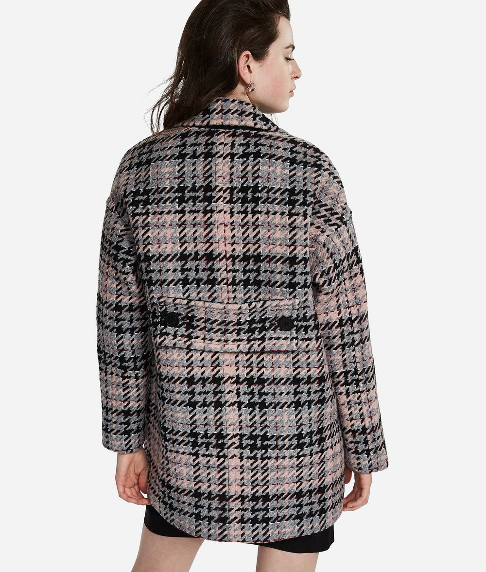 KARL LAGERFELD Wool Blend Plaid Coat Coat Woman d