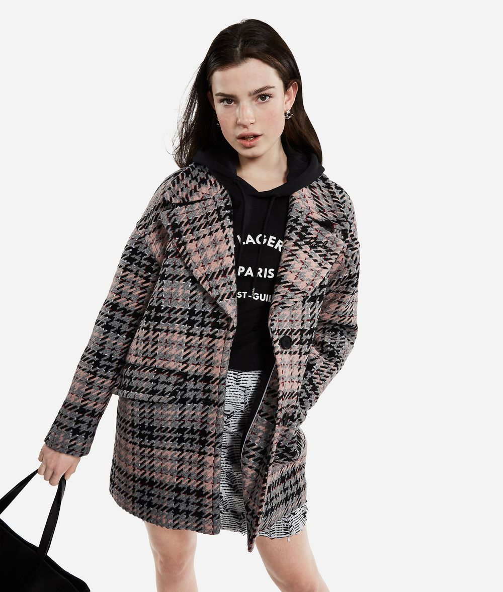 KARL LAGERFELD Wool Blend Plaid Coat Coat Woman f