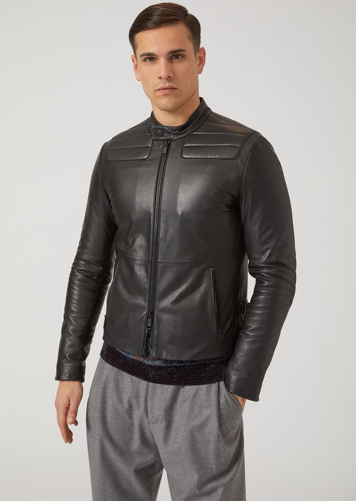 eff05f2022 Nappa leather biker jacket with padded shoulders and elbows | Man ...