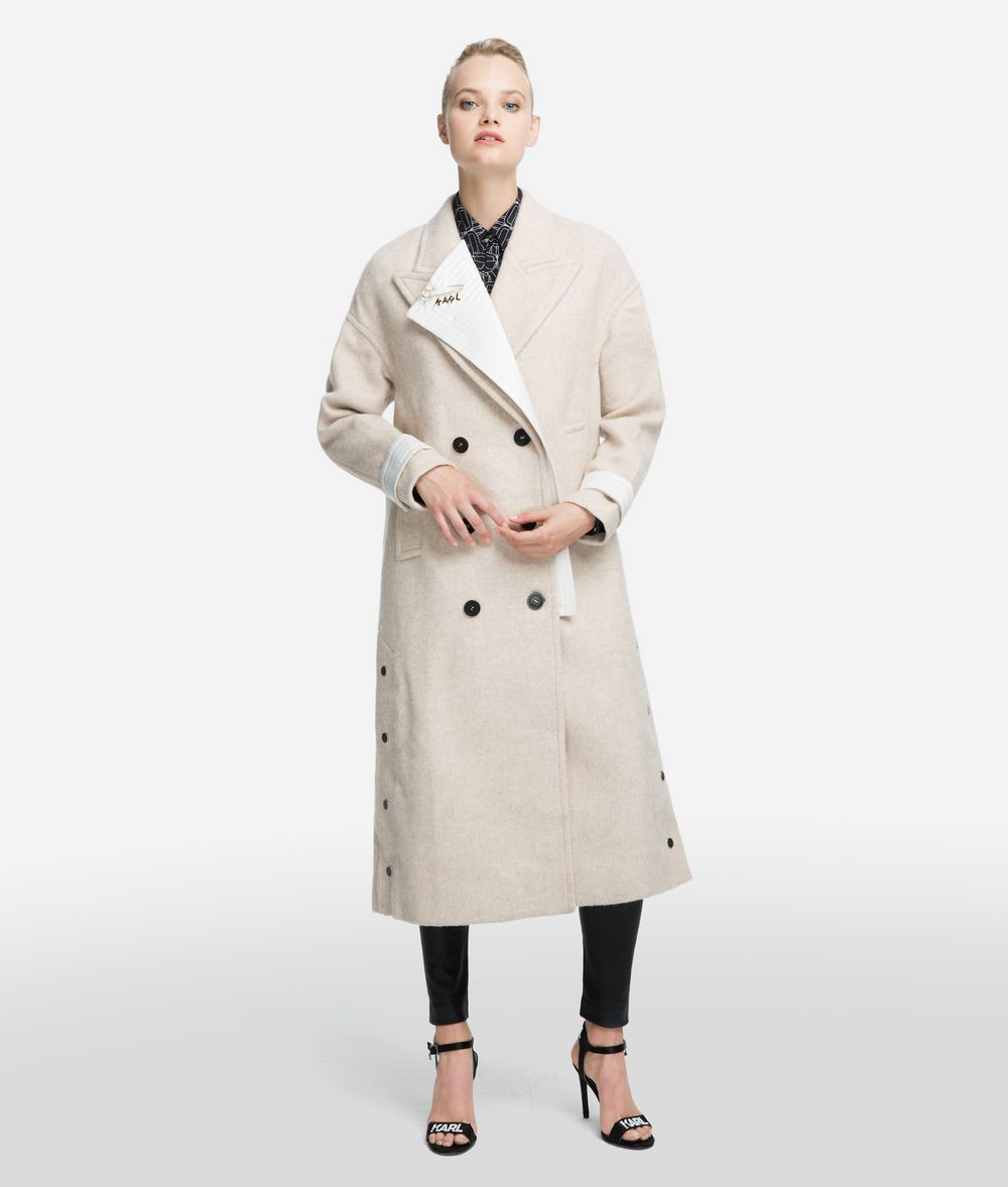 KARL LAGERFELD Textured Wool Blend Coat Coat Woman f